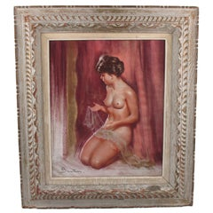 Female Nude with Lace Pastel on Paper Painting