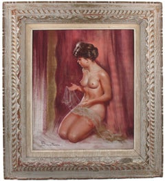 Female Nude with Lace Pastel on Paper Painting by Pio Santini