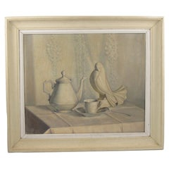 Art Deco Still-Life Jacques Adnet Crackled Ceramic Bird Oil on Canvas Painting