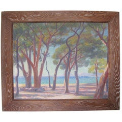 French Pointillist Mediterranean Seascape Oil on Canvas Painting