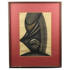 Brutalist Op Art Abstrast Charcoal Drawing on Paper
