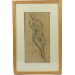 French Nude Female Study Pencil on Paper Drawing