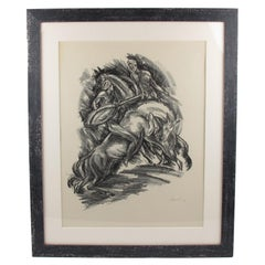 Tales of the Parrot Illustration Charcoal Drawing Lithograph Print