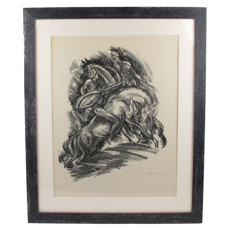 Adolf Uzarski Figurative Print - Tales of the Parrot Illustration Charcoal Drawing Lithograph Print