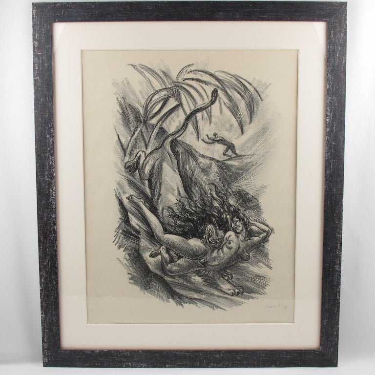 Tales of the Parrot Illustration Charcoal Drawing Lithograph Print For Sale 5
