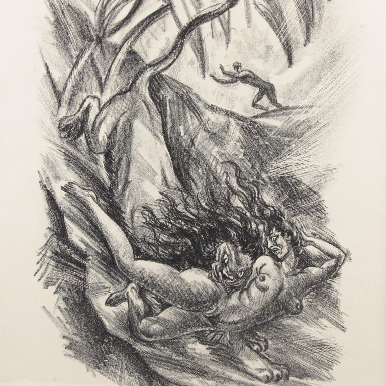 Stunning charcoal drawing lithograph print on paper depicting a fanciful lion kidnapping a young woman, designed by Adolf Uzarski (1885-1970), a German artist. This drawing is from a set of 5 lithographs made to illustrate scenes from the 14th