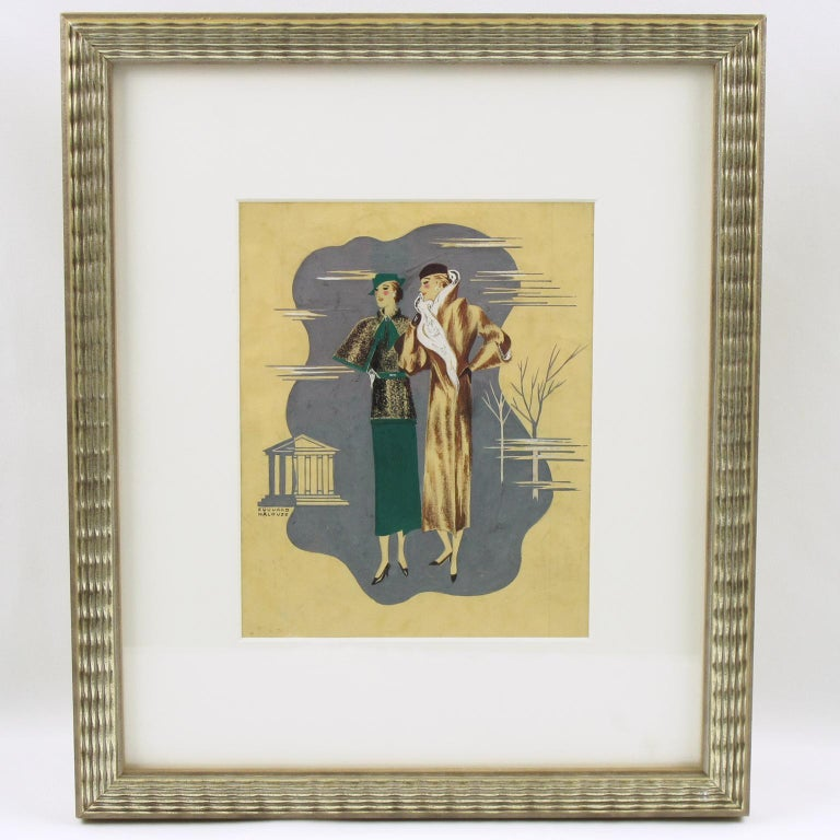 French Art Deco Fashion Illustration Ink & Gouache Drawing by Edouard Halouze For Sale 1