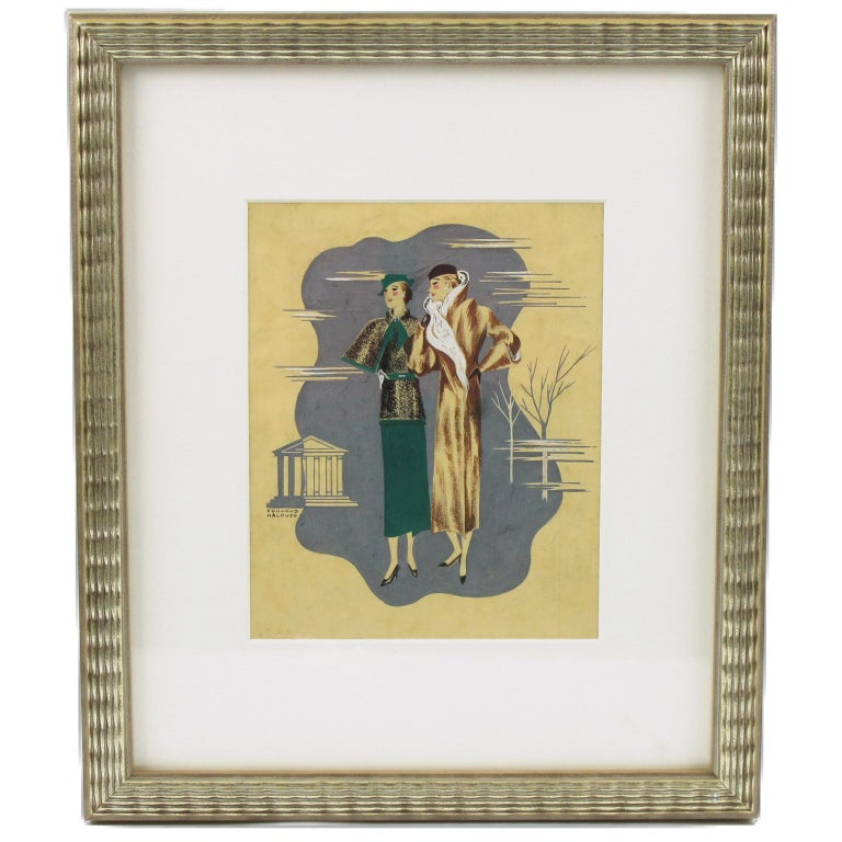 French Art Deco original illustration drawing, hand-painted with India ink and gouache on paper by Edouard Halouze. Featuring two stylish female models with elegant outfit. Signed Edouard Halouze on left bottom corner.  This image was probably later