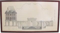 Original Architecture Sketches Study Drawing for Place Des Vosges in Paris