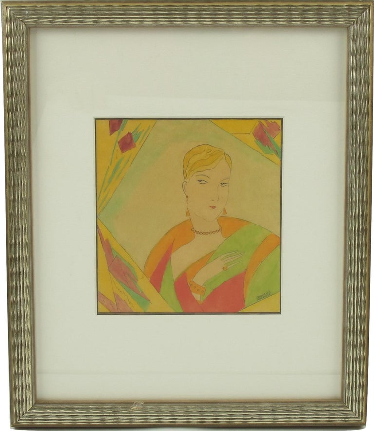 Art Deco original illustration drawing, hand-painted with India ink and watercolor on translucent tracing paper by French artist Edouard Halouze (1895-1958). Featuring a stylish flapper woman model with colorful outfit and jewels. Signed Edouard