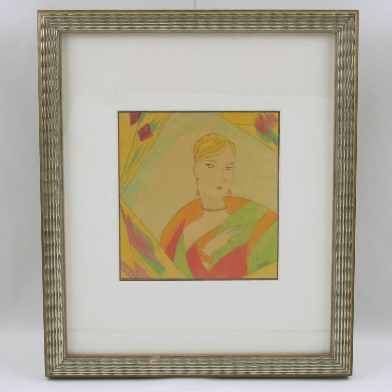 French Art Deco Fashion Illustration Ink & Watercolor Drawing by Edouard Halouze For Sale 8