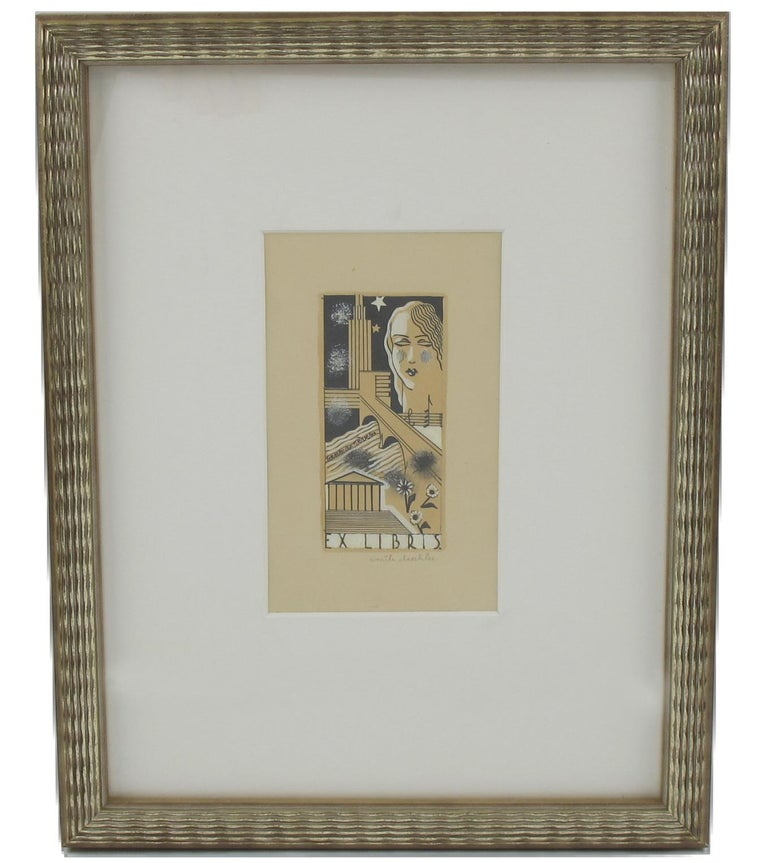 Original French Art Deco Cubist drawing, hand painted with Chinese ink and gouache on paper by Emile Deschler. Study for a poster, featuring a woman face, skyscraper buildings, flowers, music and 'Ex Libris' marking. Hand-written pencil signature