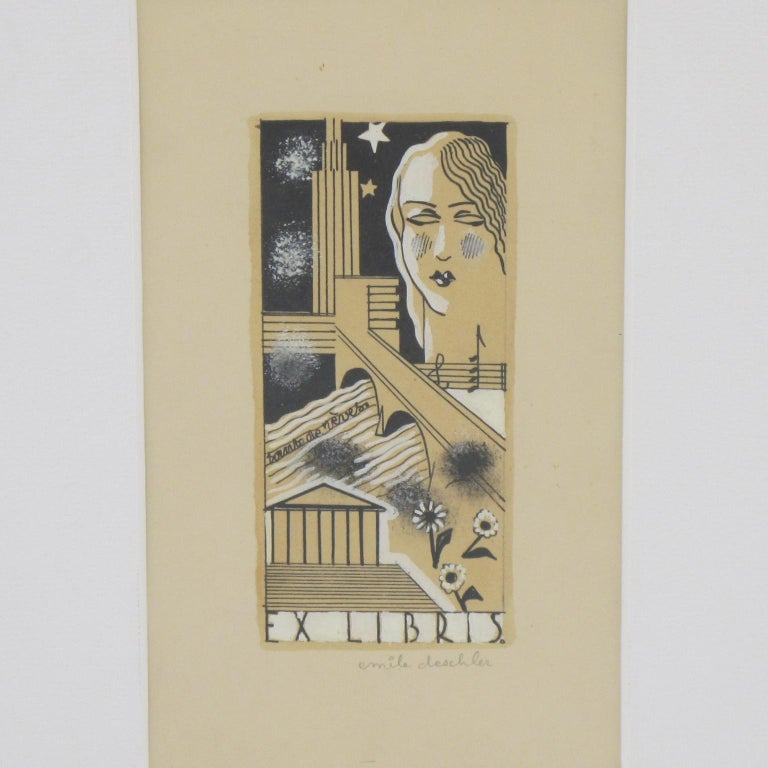 Art Deco Study Cubist Poster Drawing Gouache and Ink by Emile Deschler For Sale 1