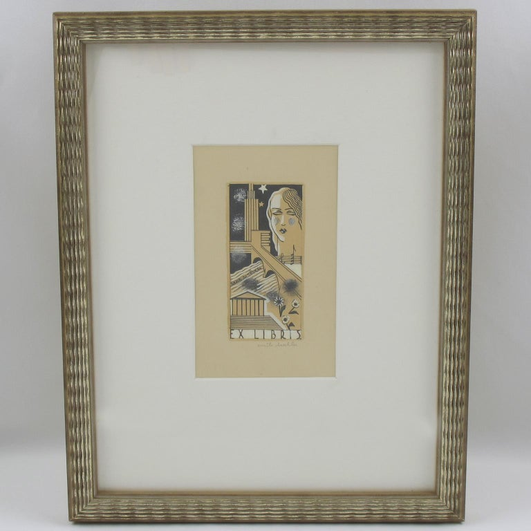 Art Deco Study Cubist Poster Drawing Gouache and Ink by Emile Deschler For Sale 6