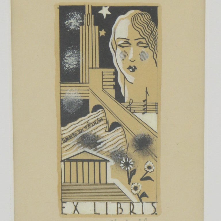 Art Deco Study Cubist Poster Drawing Gouache and Ink by Emile Deschler For Sale 2