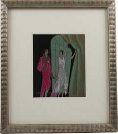Original French Art Deco Ink and Gouache Illustration Drawing by J. Hilly