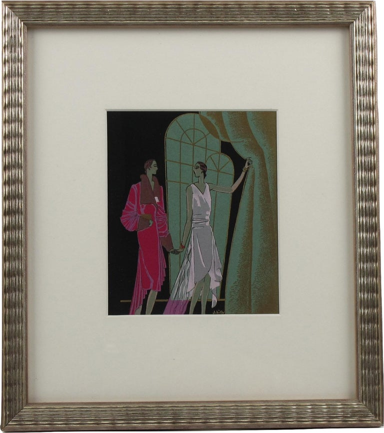 Original Art Deco illustration, hand-painted with India ink and gouache on paper. Featuring two elegant women with large windows and drapery. This illustration was probably made for a fashion show program or a magazine. Signed by J. Hilly bottom