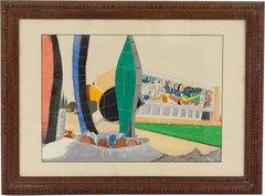 Fernand Leger Museum Building Gouache on Paper Painting