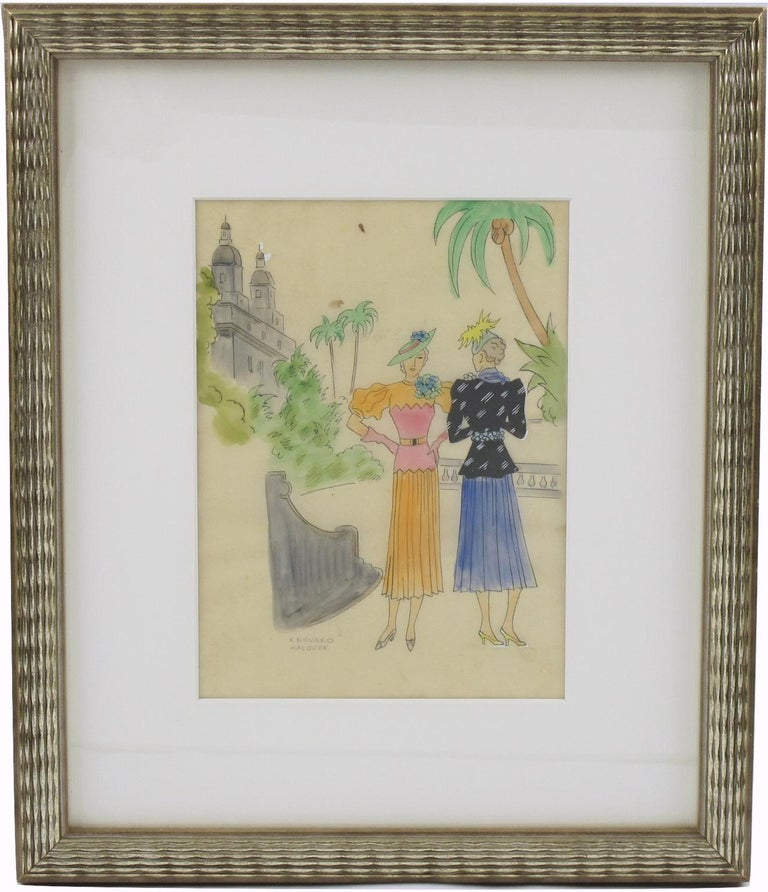 Original Art Deco illustration drawing, hand-painted with ink and watercolor on translucent tracing paper by French artist Edouard Halouze (1895-1958). Featuring stylish women model with period outfit and in the left background a stylized