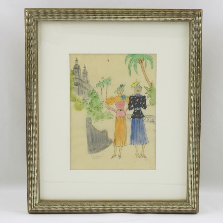 French Fashion Illustration Art Deco Ink & Watercolor Drawing by Edouard Halouze For Sale 1