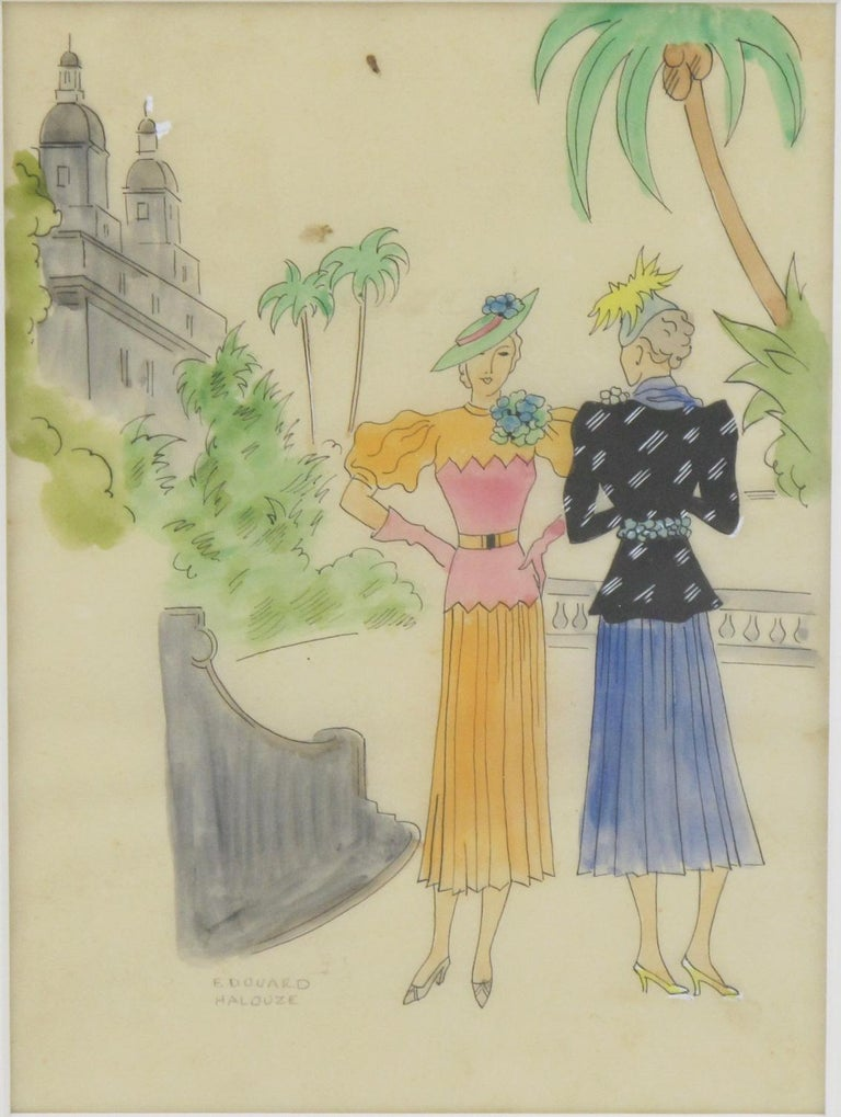French Fashion Illustration Art Deco Ink & Watercolor Drawing by Edouard Halouze For Sale 3