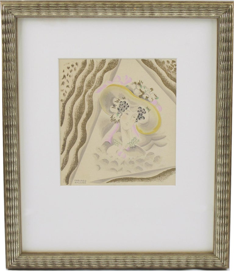 Original Art Deco illustration drawing, hand-painted with watercolor and gilt paint application on Vellum paper by French artist Edouard Halouze (1895-1958). Featuring period woman portrait with an incredibly stylish hat. Signed Edouard Halouze on