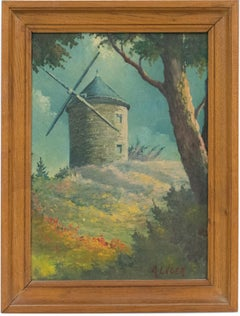 Provence Landscape Daudet Windmill Gouache on Cardboard Painting by Andre Leger
