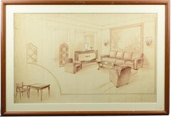 1940s Interior Decoration Project Study by Maurice Dufrene Studio