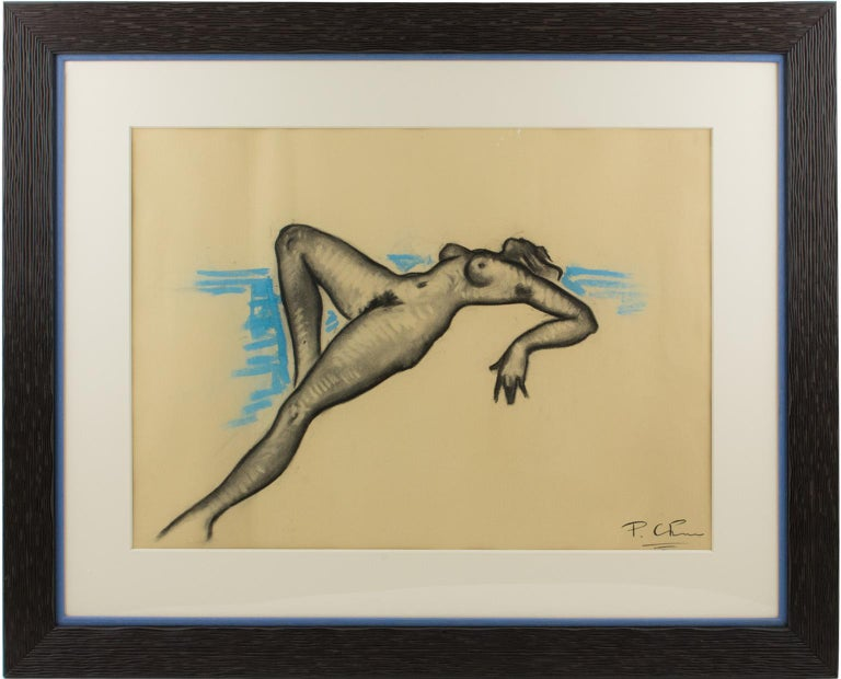 Female Nude Study Black and Blue Pencil on Paper Drawing by P. Chem - Art by Alexandre Pavlovitch Chemetoff (aka Chem)