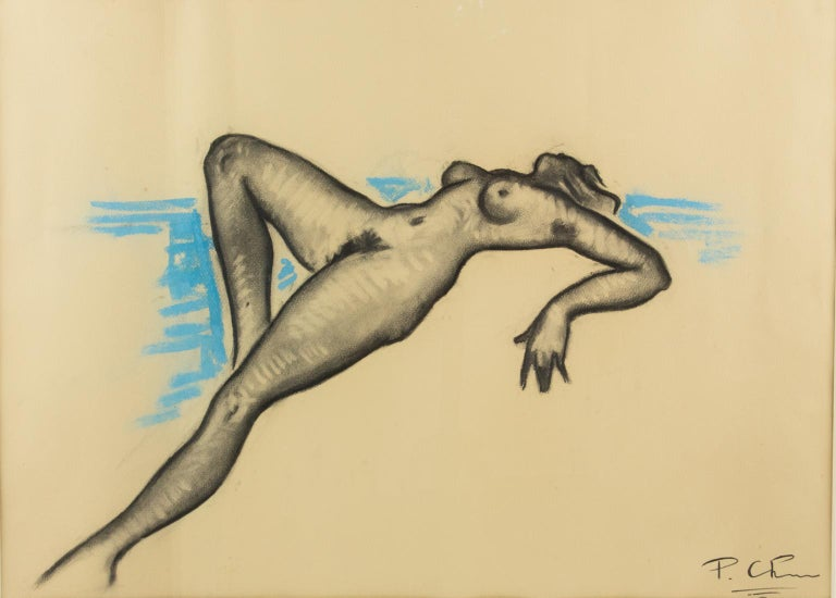 Female Nude Study Black and Blue Pencil on Paper Drawing by P. Chem For Sale 1
