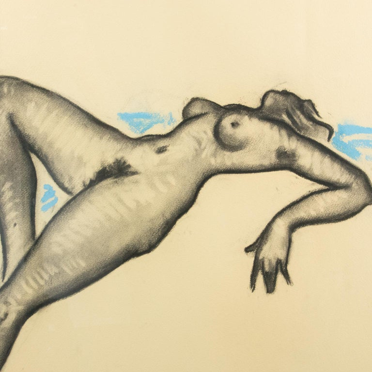 Female Nude Study Black and Blue Pencil on Paper Drawing by P. Chem For Sale 2