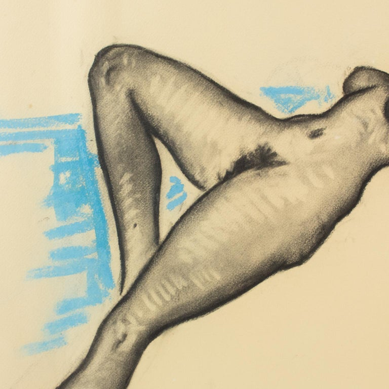 Female Nude Study Black and Blue Pencil on Paper Drawing by P. Chem For Sale 3