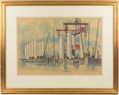 Industrial Bridge Construction Seascape Pastel & Ink Painting by T.S. Halliday