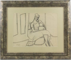 Cubist Seated Woman Study Black Pencil on Paper Drawing by Wouyart