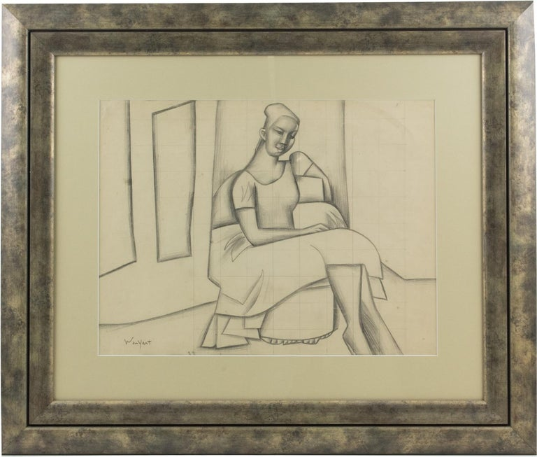 Interesting seated woman pencil study by French artist Wouyart (20th Century). Surprising representation on which only some trace lines and shadows mark the silhouette and posture and capture the expression of the model. Lots of cubist influence in
