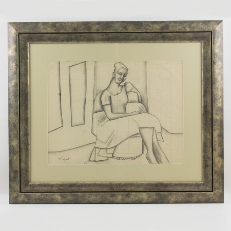 Cubist Seated Woman Study Black Pencil on Paper Drawing by Wouyart For Sale 1