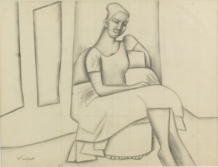 Cubist Seated Woman Study Black Pencil on Paper Drawing by Wouyart 4
