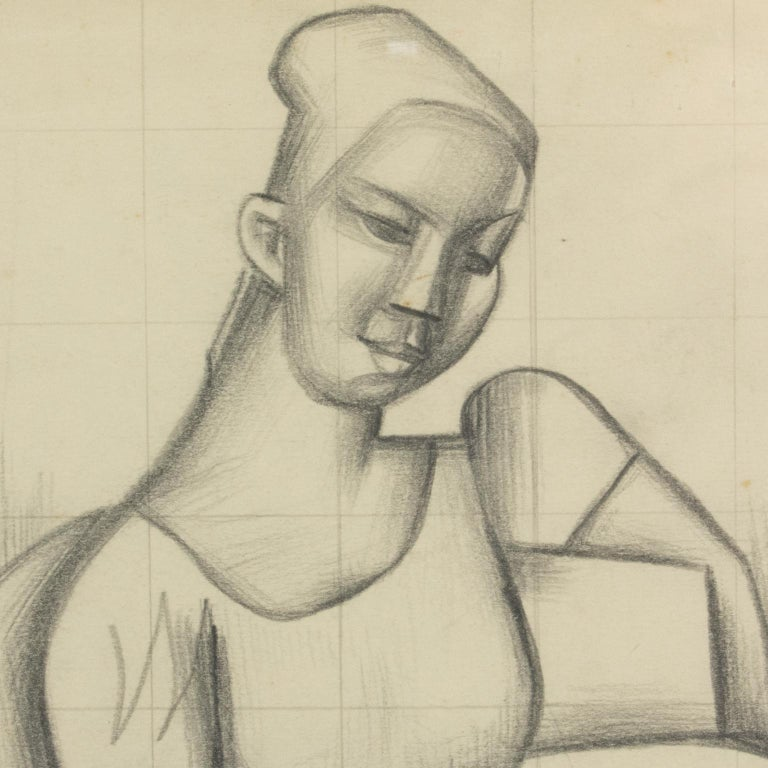 Cubist Seated Woman Study Black Pencil on Paper Drawing by Wouyart For Sale 6