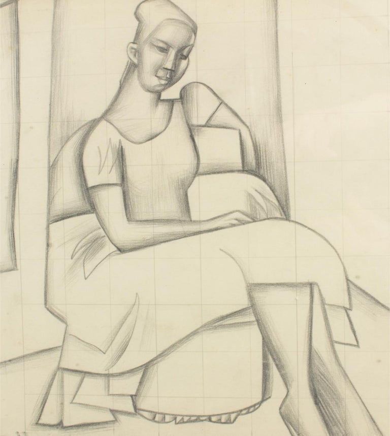 Cubist Seated Woman Study Black Pencil on Paper Drawing by Wouyart For Sale 4