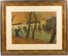 French Middle Age Vaulted Bridge Oil on Pressed Wood Painting by V. Mazzocchini