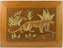 Art Deco Panthers in the Savannah Carved Gilt Wood Plaque by N. R. Brunet