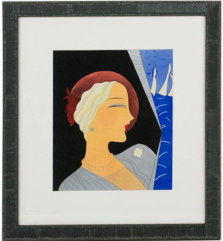 Original Art Deco drawing or painting on Vellum paper, featuring a period woman portrait with an incredibly stylish flair. This hand-made piece is probably a draft, notice the sea and the sailboats in the upper right corner which reminds us of a