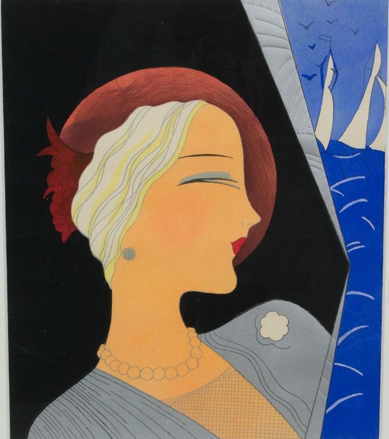 French Art Deco Fashion Woman Portrait Watercolor Painting For Sale 4