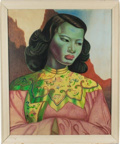 After Vladimir Tretchikoff The Green Lady Pastel Painting by F.H. Koning