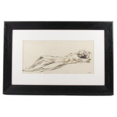 French Lying Nude Study Ink Wash Drawing Painting by Robert Cami