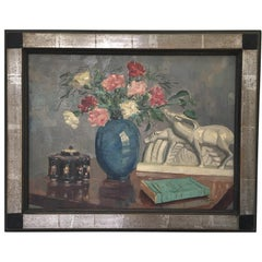 French Art Deco Still-Life Lemanceau Crackle Ceramic Oil on Canvas Painting