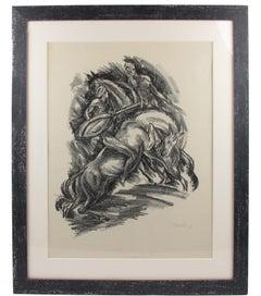 Art Deco Fantasy Illustration Charcoal Drawing Lithograph Print by Adolf Uzarski