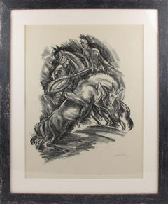 Art Deco Fantasy Illustration Charcoal Drawing Lithograph Print by Adolf Uzarski