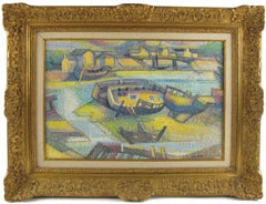 Seaside Old Boats Cemetery Oil on Canvas Pointillism Painting by Georges Zelter