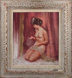 Nude Study with Lace Pastel on Paper Painting by Pio Santini